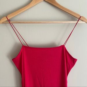 F21 Fuchsia Pink Ribbed Knit Midi Dress with Slit
